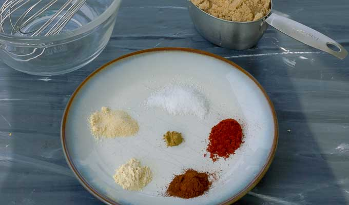 spices and brown sugar for pork rub