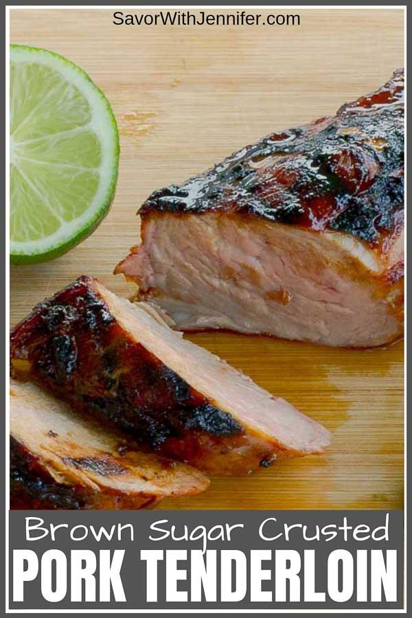 Smokey Brown Sugar Crusted Pork Tenderloin pinterest pin image