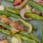 Fresh Roasted Green Beans with Bacon and Shallots on metal baking sheet