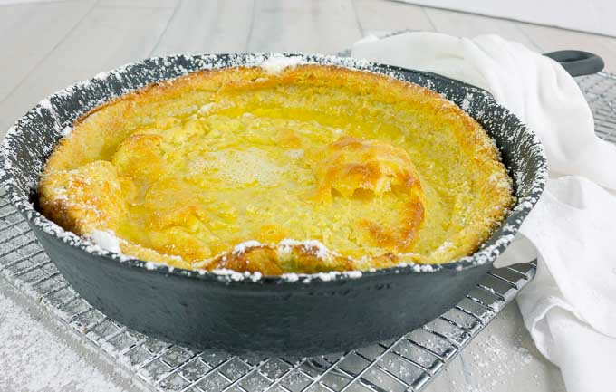 Pumpkin Pie Dutch Baby  in a cat iron skillet