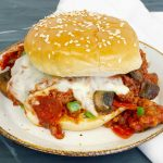 Pizza Sloppy Joe Sandwich on a white plate