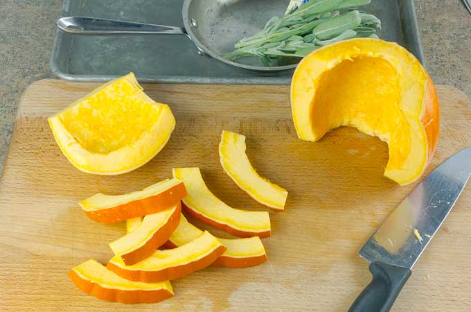slices of pumpkin on wooden cutting board