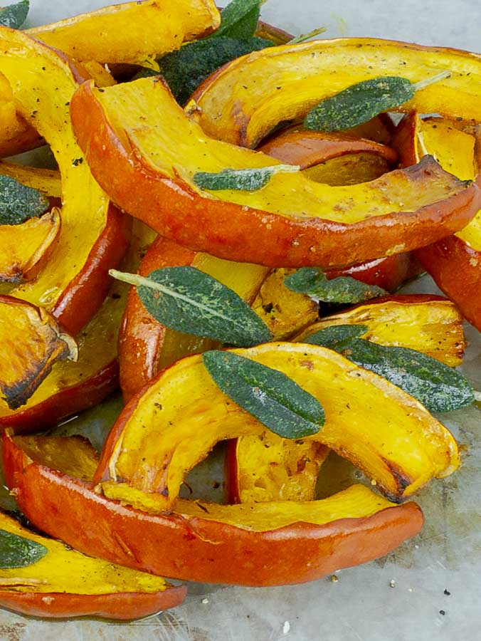 pile of Roasted Pumpkin with Brown Butter and Crispy Sage
