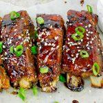three Sticky Asian Baked Pork Ribs