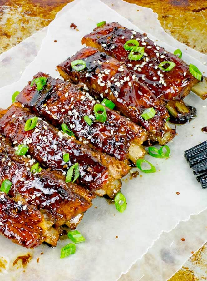 Sticky Asian Baked Pork Ribs shown diagonally