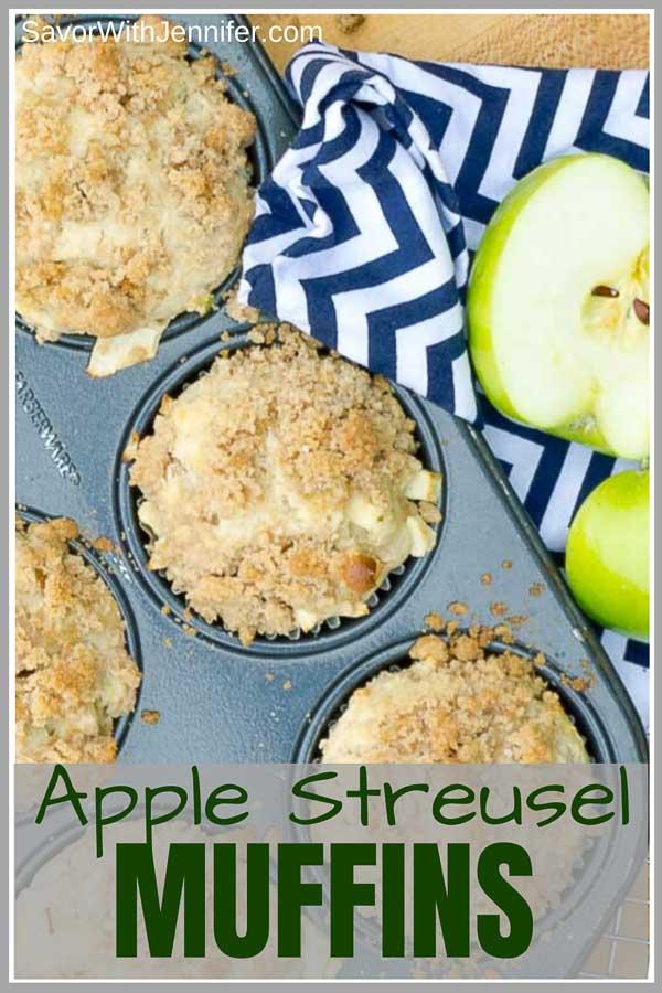APPLE streusel muffin pinterest pin image