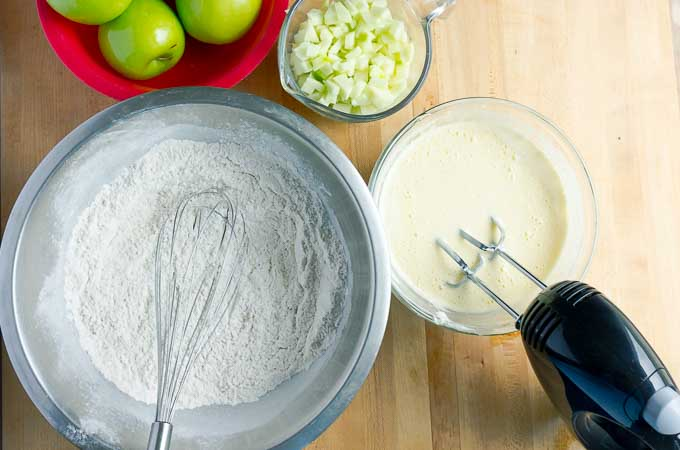 ingredients being prepped for apple streusel muffins