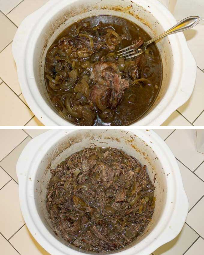 Crockpot French Dip Sandwich Recipe in white slow cooker.