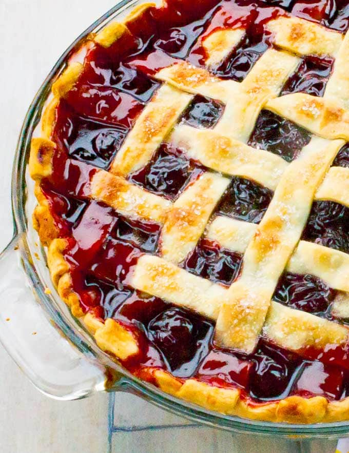 left side of The Best Cherry Pie Recipe with Homemade Filling