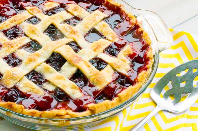 right side and yellow napkin of The Best Cherry Pie Recipe with Homemade Filling