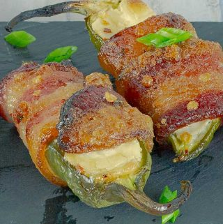 two Bourbon Candied Bacon Wrapped Jalapeno Poppers