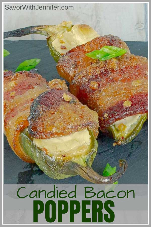 Pinterest pin image of Bourbon Candied Bacon Wrapped Jalapeno Poppers