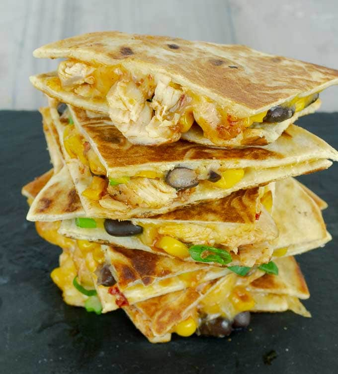 a tall stack of Chipotle Barbecue Sauce Chicken Quesadillas