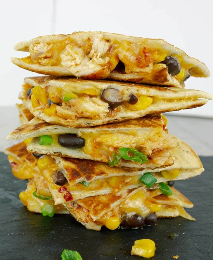 tall stack of Chipotle Barbecue Sauce Chicken Quesadillas