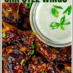 Baked chipotle Barbecue Wings Pinterest Image
