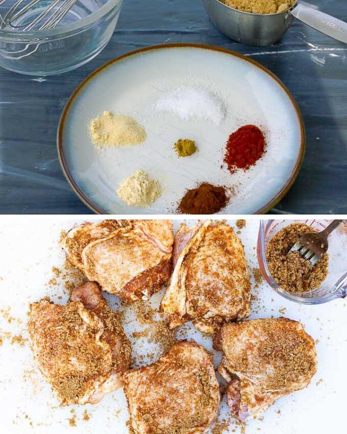 collage showing brown sugar spice rub