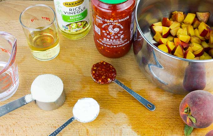 ingredients for peach chili dipping sauce
