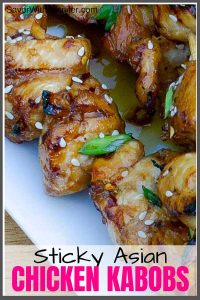 pinterest pin image of grilled Asian chicken kabobs