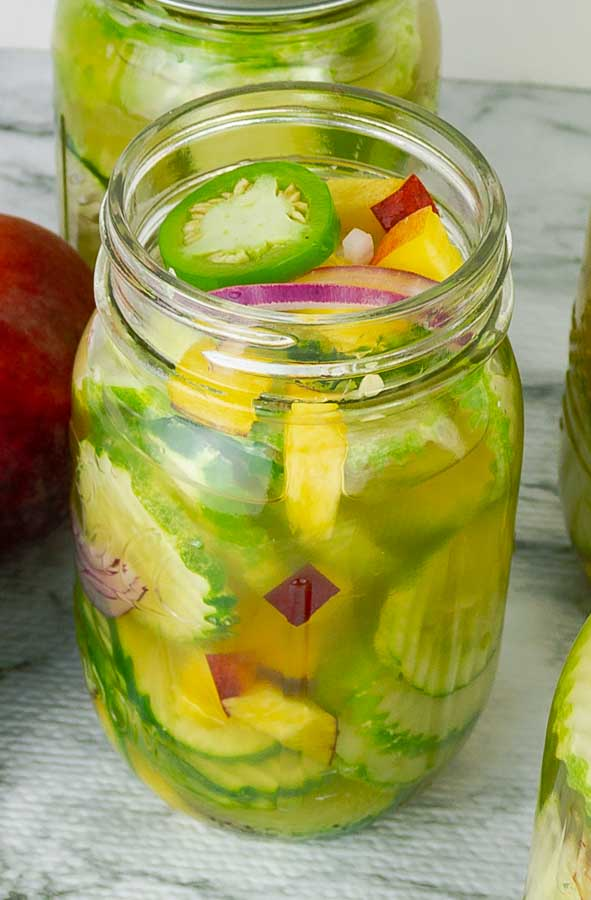 2 jars of Sweet and Spicy Peach Jalapeno Pickles