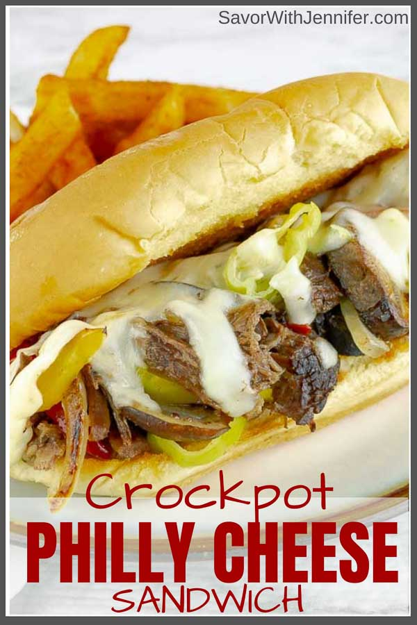 Slow Cooker Philly Cheese Steak pinterest pin image