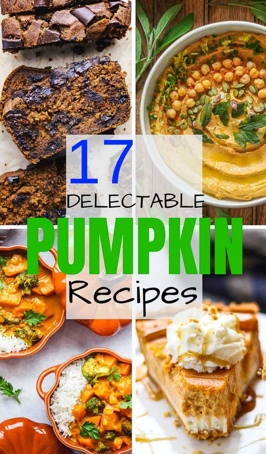 mulit-image collage of pumpkin recipes