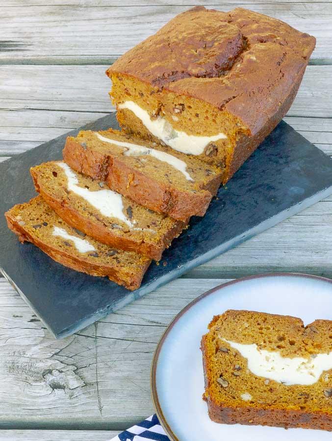 slices of cream cheese stuffed pumpkin bread
