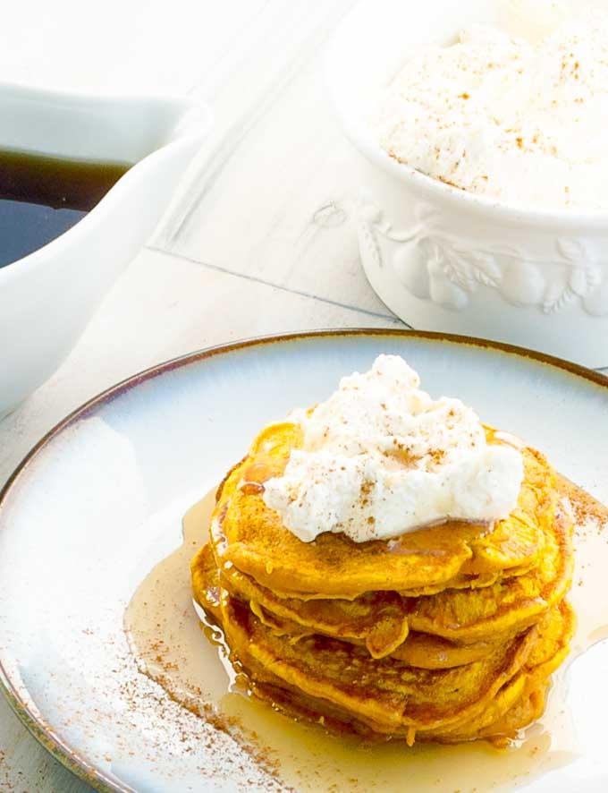 stack of pumpkin pancakes