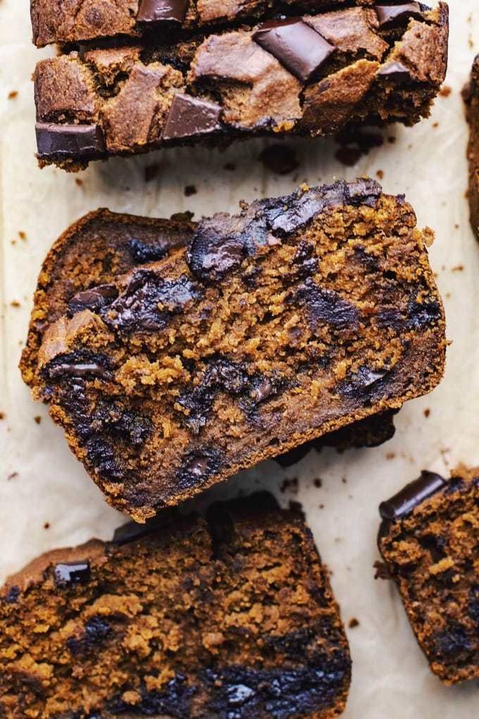 slices healthy-pumpkin-bread with chocolate chunks
