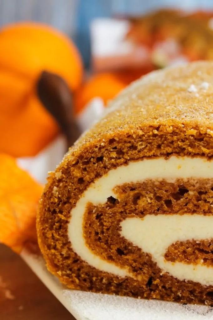 slice of a pumpkin-roll-cake