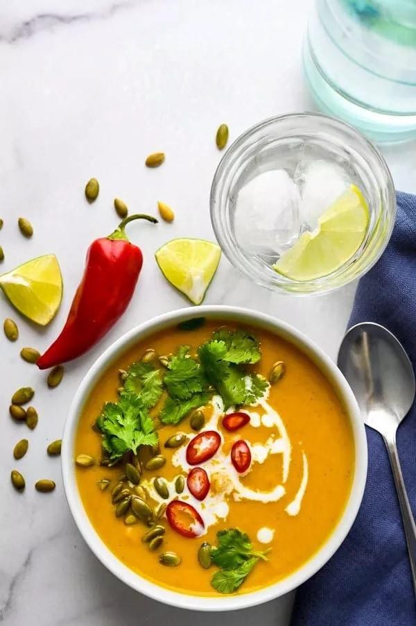 white bowl of thai-squash-soup