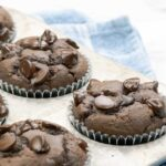 square imagae of 4 double chocolate banana muffins