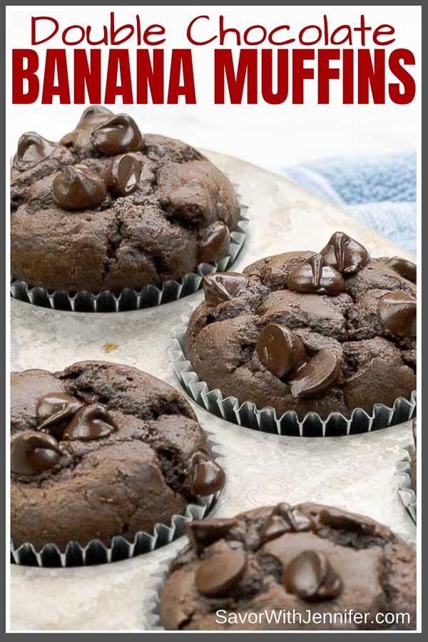 Double Chocolate Banana Muffins Pinterest Pin Image