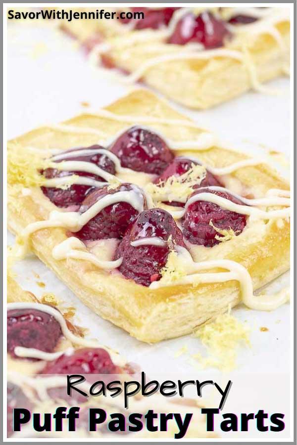 Raspberry Puff Pastry Tarts with Lemon Cream Cheese Pinterest Image