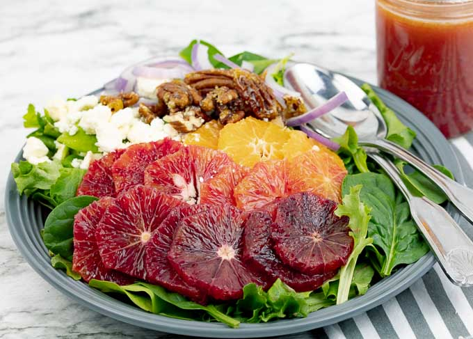 Blood Orange Citrus Salad with Orange Vinaigrette on a gray plate