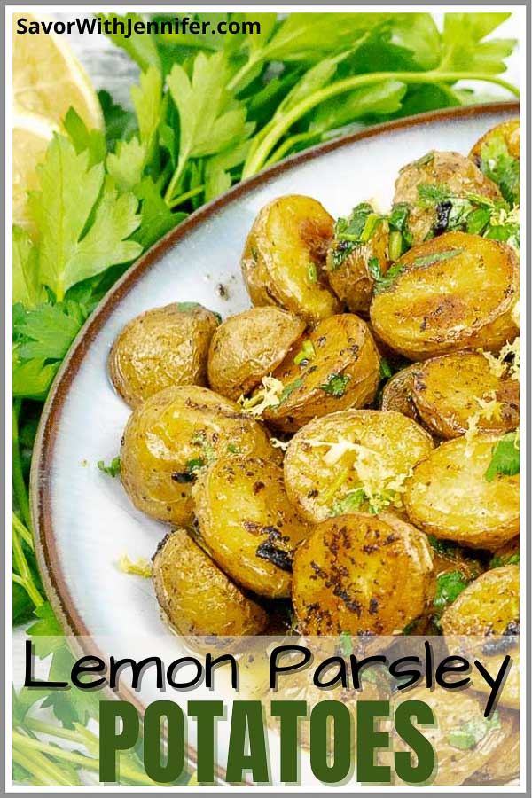 Roasted Lemon Parsley Butter Potatoes pinterest image