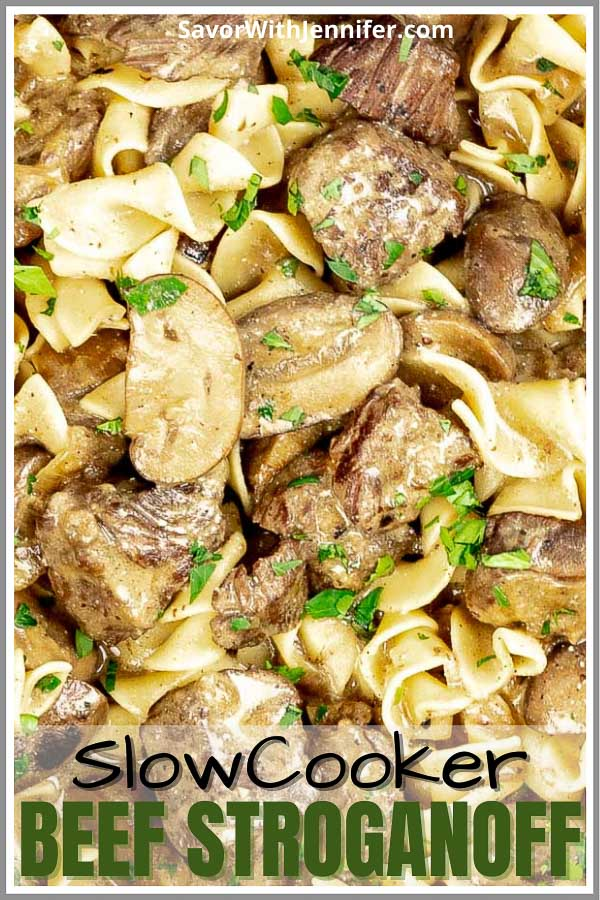 Slow Cooker Beef Stroganoff from Scratch Pinterest Pin