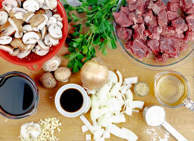 ingredients for Slow Cooker Beef Stroganoff Recipe From Scratch