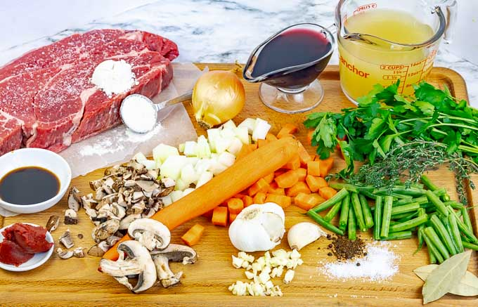 ingredients being prepped for Shredded Beef Dutch Oven Shepherd's Pie