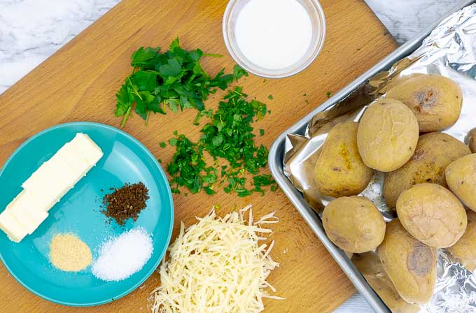 roasted mashed potatoes being prepped