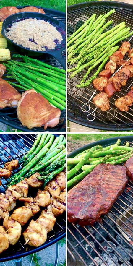 four pictures of grilling asparagus