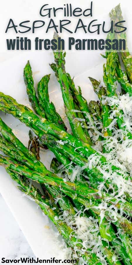 Easy Grilled Parmesan Asparagus Pinterest Pin Image