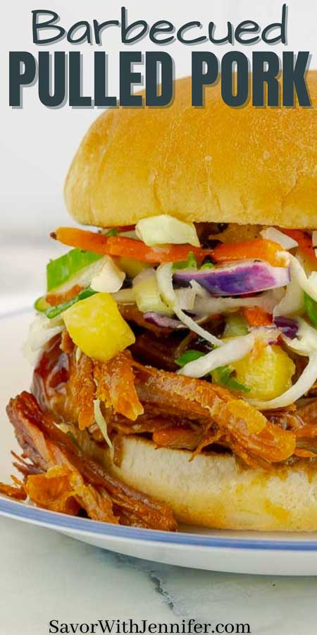 pinterest pin image of barbecued pulled pork