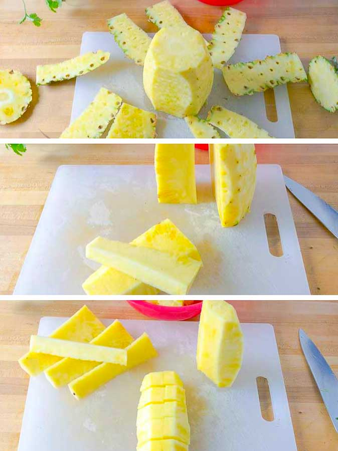 the pictures showing how to cut up a fresh pineapple