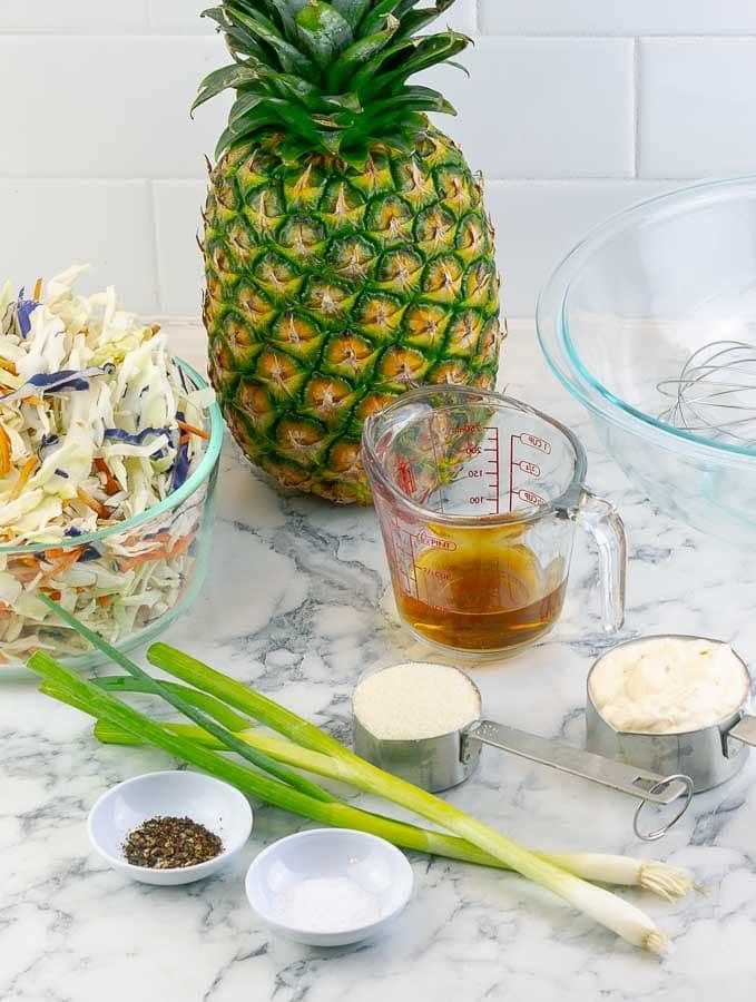 ingredients for pineapple slaw