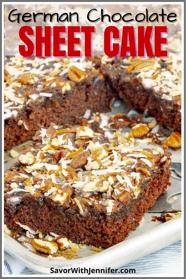 German Chocolate Sheet Cake Recipe Pinterest Pin Image