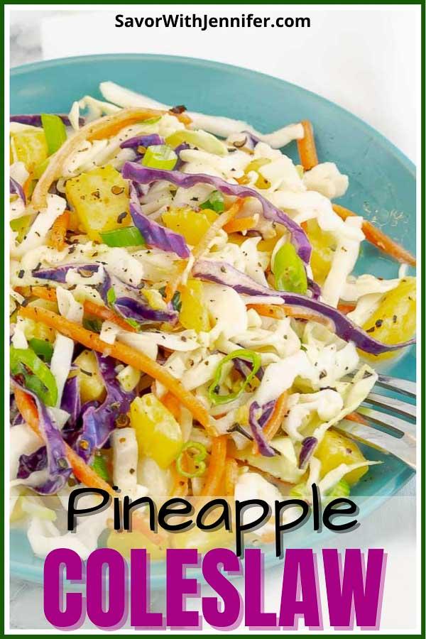 pinterest pin image of pineapple slaw