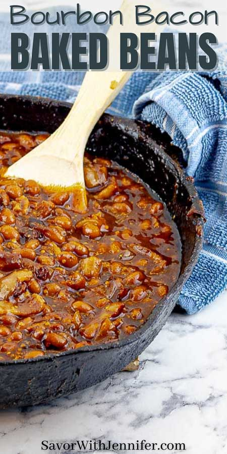 Bourbon Bacon Grilled Baked Beans Pinterest pin image