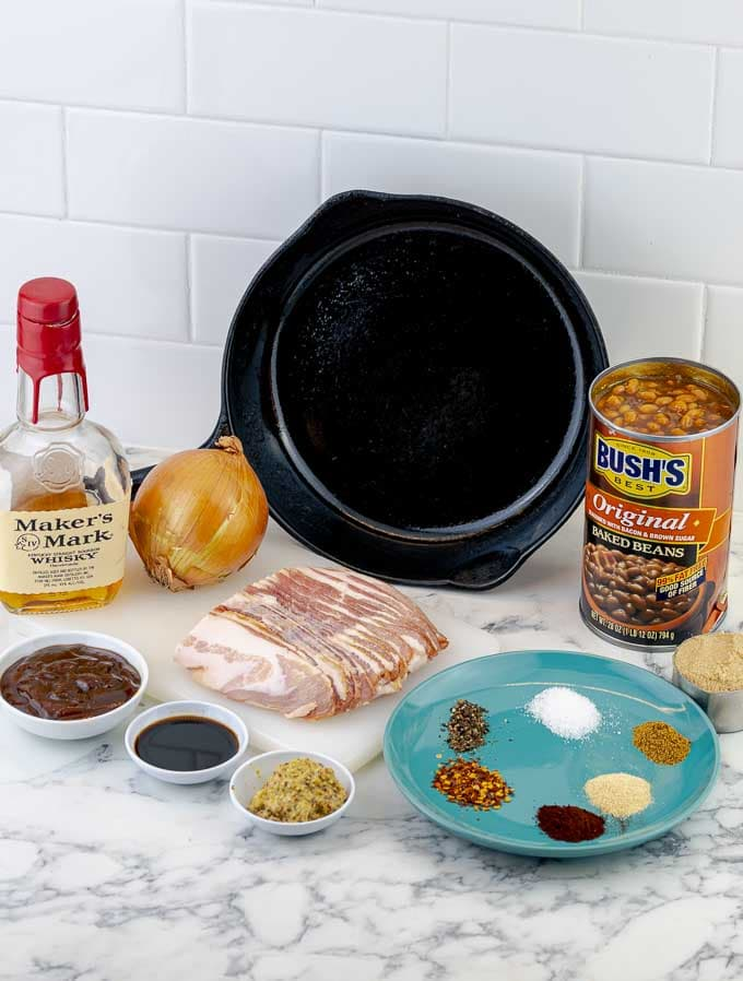 ingredients being prepped for baked beans