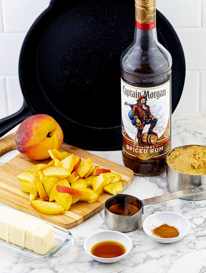 caramel ingredients for grilled fresh peach cast iron skillet cake
