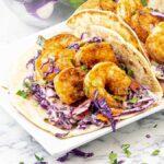 close up a one cajun shrimp taco